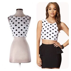 Forever 21 Small Black White Polka Dot Crop Top S