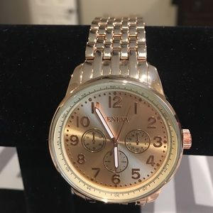 Geneva Analog Rose Gold Alloy Watch