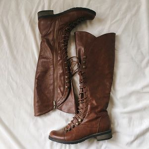 Lulu's Shoes - Knee High Lace Up Boots