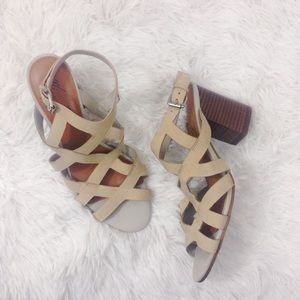 MARC FISHER cream cut-out sandals