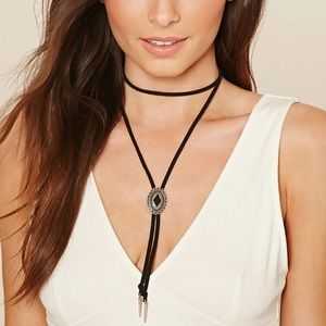 Jewelry - New Silver and Black Bolo Tie Choker