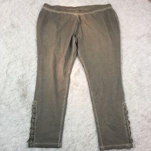 Pants - NWOT plus size suede-look lace up leggings 26/28