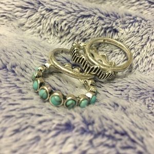 Lucky Brand Jewelry - Lucky Ring Set: Turquoise and Silver