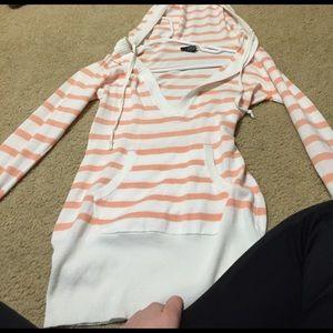 Stripped orange hooded sweater