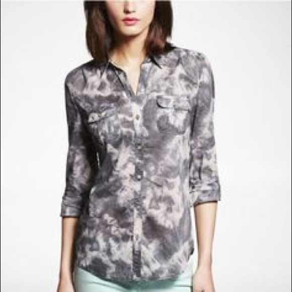Express nwt express tie dye cotton button down shirt for Express shirt and tie