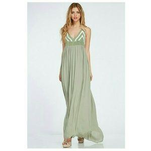 Boutique  Dresses & Skirts - Spring Sage Boho Crochet Top Maxi Dress
