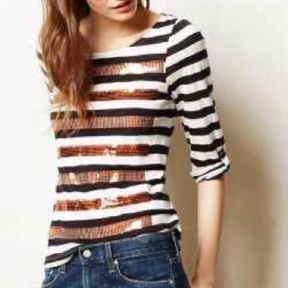 a3214a9dda 💕HP💕ANTHROPOLOGIE Sequin Stripe Tee Shirt
