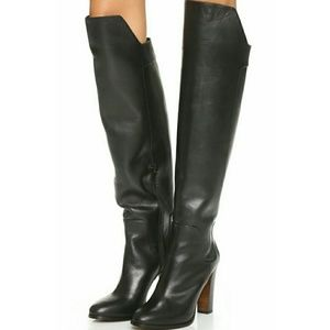 Vince Dempsey Over The Knee Boots Black Leather