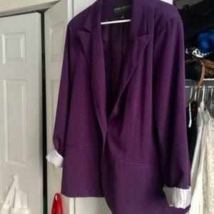 Purple FOREVER 21 Plus-Size blazer, 3x