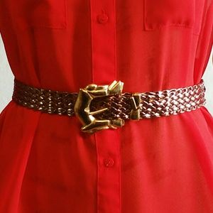 Accessories - Vintage Belt with Gold Buckle & Woven Strap - EUC