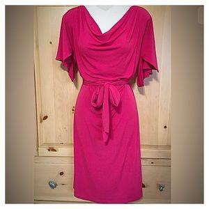 George Simonton Dresses & Skirts - Bright Fuchsia Split Shoulder Dress Tie Waste