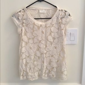 Zara small studded white lace cap sleeve top
