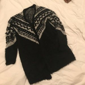 Ecote Sweaters - Black and white fuzzy patterned cardigan urban