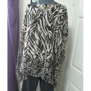 Talbots Tops - Silk Animal Print Batwing Sheer Top Size L/XL