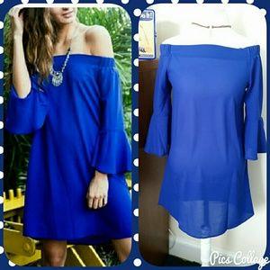October Love Dresses & Skirts - SALE! Cobalt Off -Shoulder Dress