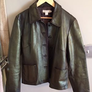 J.Crew Brown Leather Jacket Large