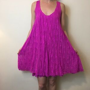Free People Dresses & Skirts - FREE PEOPLE Hot Pink Lace Overlay Swing Dress