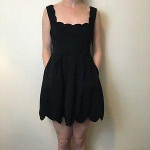 NWT Nasty Gal Black Scalloped Skater Dress