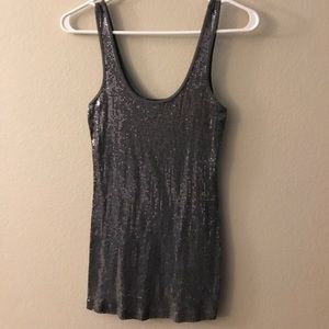 Express - Gray Sequin Tank Top
