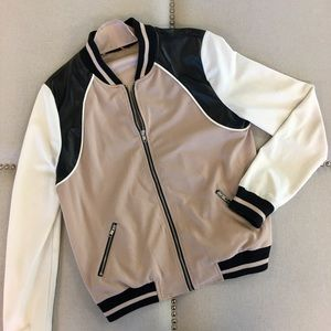 Hive & Honey Varsity Colorblock Bomber Jacket