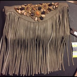 Gray clutch with beads