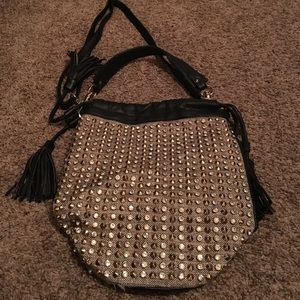 Handbags - Trendy Gold & Black Rhinestone & Stud Bucket Bag