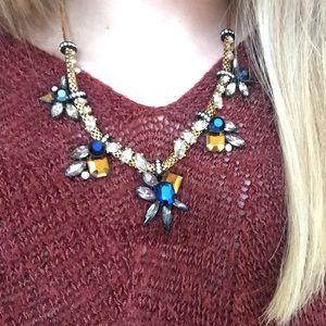 J. Crew Jewelry - Sale! J Crew Shiny Blue & Gold Jeweled Necklace