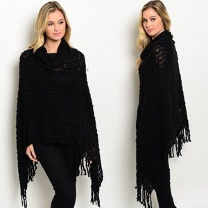 Boutique Sweaters - Black Fringe Cowl Neck Poncho Sweater