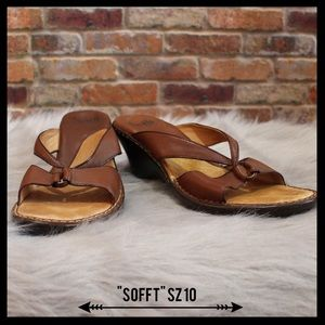 Sofft Shoes - Sofft Brown Leather Heeled Sandal
