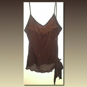A. Byer Tops - FINAL MARK DOWN - Sequin and stitching sheer tank