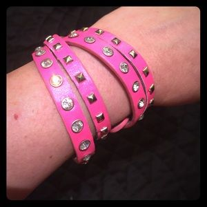 Jewelry - Hot pink studded wrap bracelet