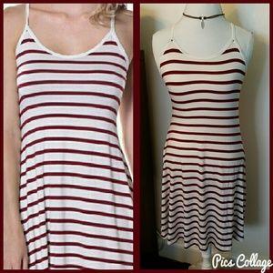 Pastels Clothing Dresses & Skirts - Burgundy & White Striped Dress