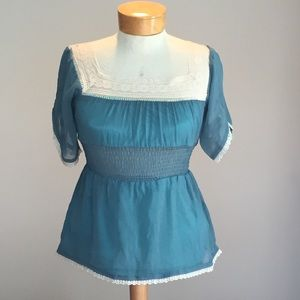 Lucca Couture Tops - Lucca teal peasant top w/ lace accents. Size small