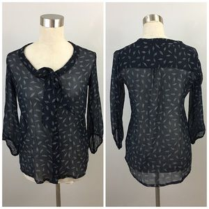 Pull&Bear Tops - Pull & Bear Lightweight Feather Print Tie Blouse