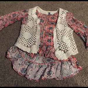 Beautees Other - Girls Peasant Top with Coordinating Vest