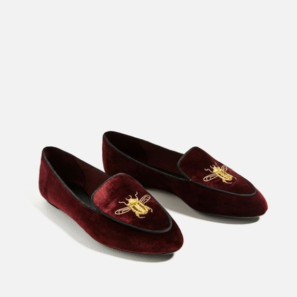 281f38e6997 💥FLASH SALE💥ZARA EMBROIDERED BEE VELVET LOAFERS