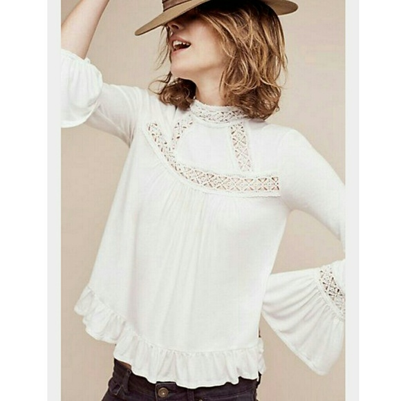 NEW Anthropologie White Butterfly Laced High-Neck Blouse