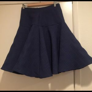 Blue textured flare midi skirt