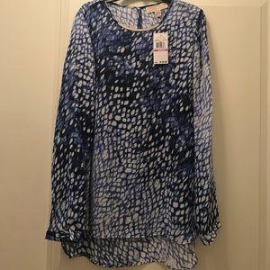 SALE NWT Michael Kors Blue Print Blouse Sz 6