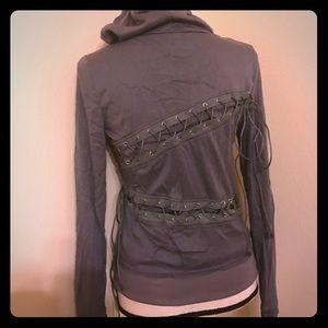 Jackets & Blazers - Hooded longsleeve lace up women's hoodie