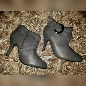 New Gray Booties With Buckle