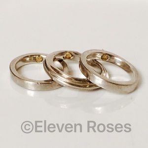 Movado Jewelry - Lot of 3 Movado Sterling 18k Gold Stacking Rings