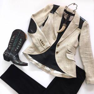 Smythe Jackets & Blazers - Smythe Tweed Jacket with Leather Detail - Size 8