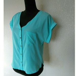 Charlotte Russe Tops - Loose Blue Open Back Top