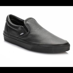 Vans Other - Vans Black on Black Leather Slip-ons
