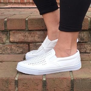 Shoes - White Slip on Sneakers