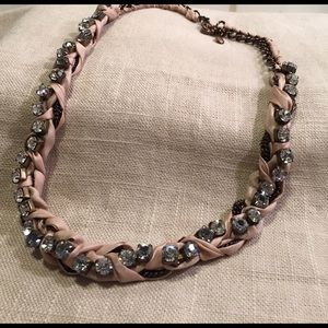 J. Crew Jewelry - J.Crew pink braided necklace with ribbon