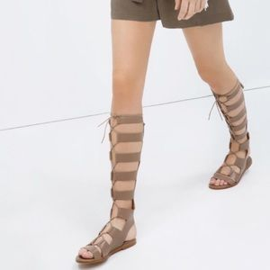Zara Lace up Gladiator Sandals Tan Size 38/7.5 US