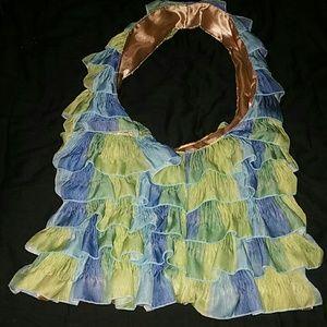Handbags - *Blue & Green Ruffled Bag* NWOT!