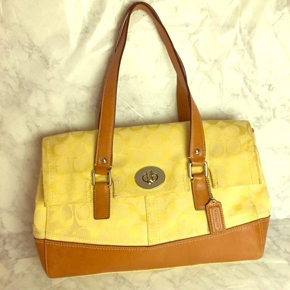 201fc4c6bc 2fedb 25885  cheapest coach signature yellow tan hamptons flap satchel  19f52 173e0
